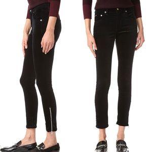Rag & Bone High Rise Capri Black Velvet Jeans 29